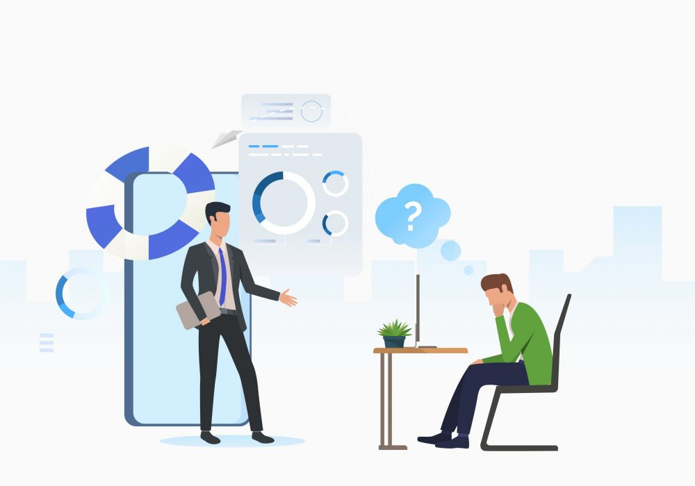 Business consultant and thoughtful man working on laptop. Planning, marketing, information concept. Vector illustration can be used for topics like business, analysis, consulting